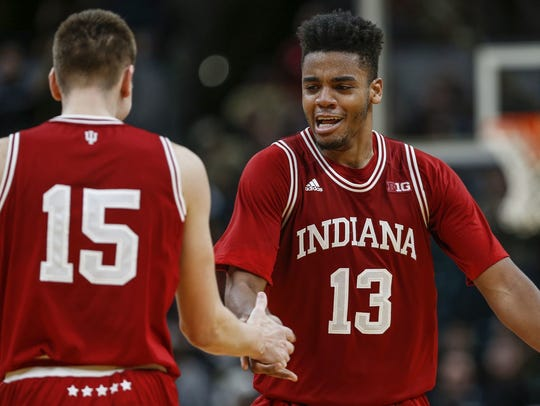 Indiana forward Juwan Morgan, right, scored 20 of the