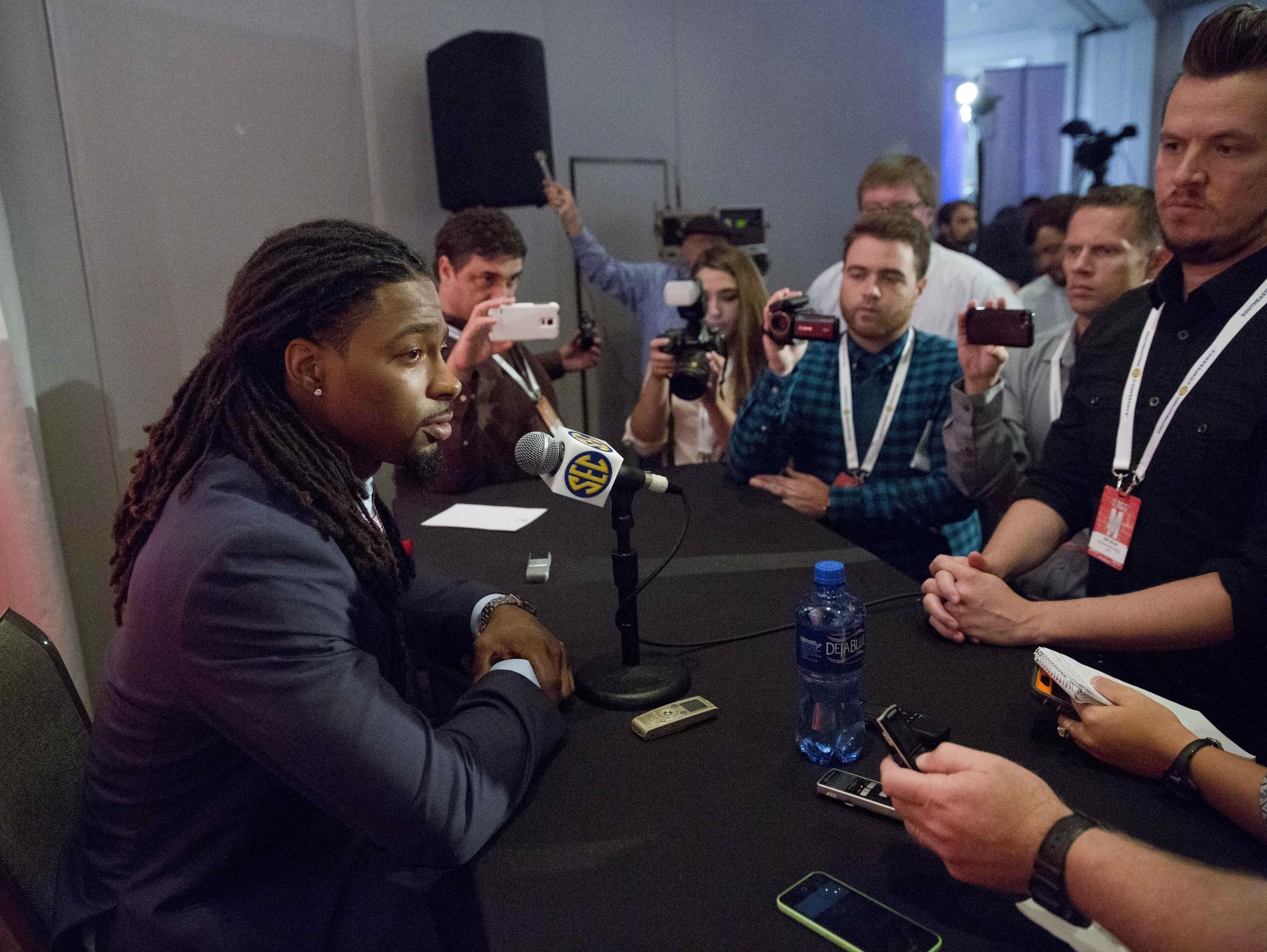 Arkansas' Keon Hatcher speaks to reporters at the Southeastern Conference college football media days on Wednesday in Hoover, Ala.