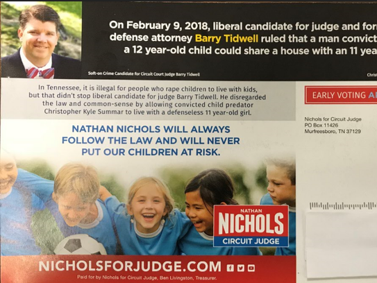 This mailer from judge candidate Nathan Nichols mentions