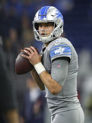 Detroit Lions' Matthew Stafford warms up before the game against the Chicago Bears at Ford Field on Dec. 16, 2017 in Detroit.