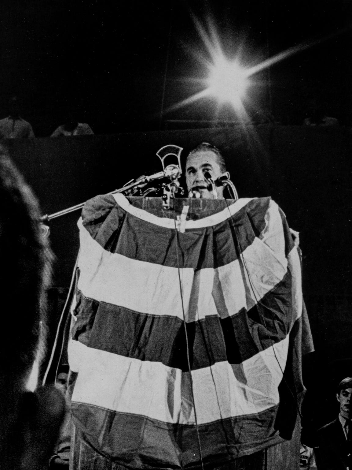 Presidential candidate George Wallace speaks during a rally at Garrett Coliseum in Montgomery in September 1968.