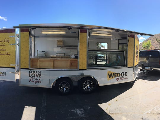 The Wedge on Wheels food trailer features two 6-foot windows that put people at eye-level with the cheese.