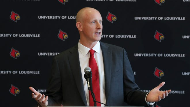 New Louisville basketball head coach Chris Mack made remarks after he was announced at the Yum Center.    