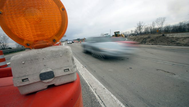 Construction barrel on a freeway