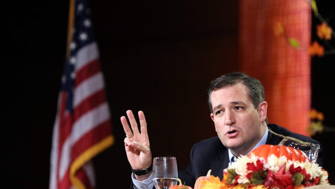 Republican presidential candidate Sen. Ted Cruz, R-Texas speaks at the Presidential Family Forum in Des Moines Friday, Nov. 20, 2015.