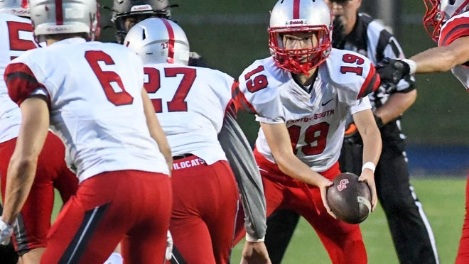 Freshman quarterback Jack Snyder runs the offense in Canton South's 2020 opener against St. Thomas Aquinas.