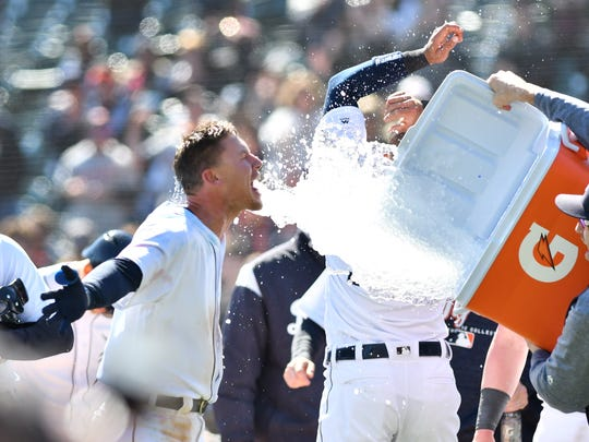 JaCoby Jones gets doused with ice-cold water following his walk-off home run.