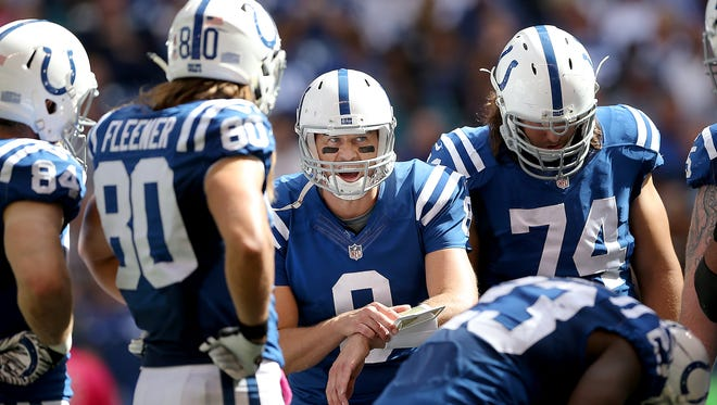 Indianapolis Colts quarterback Matt Hasselbeck (8) calls a play in the Colts huddle in the second half of their game. The Indianapolis Colts play the Jacksonville Jaguars Sunday, October 4, 2015, afternoon at Lucas Oil Stadium.