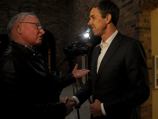 Dr. Richard Sutton meets Rep. Beto O'Rouke before O'Rouke's