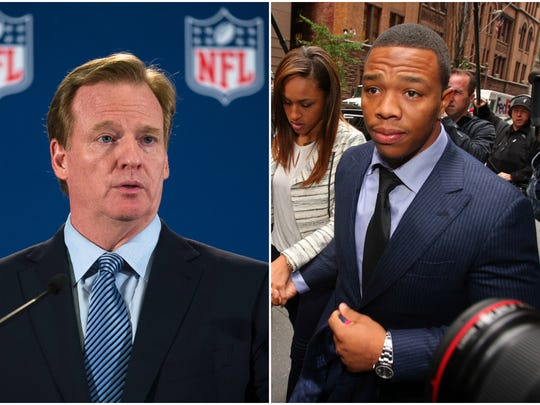 NFL commissioner Roger Goodell and former Baltimore Ravens running back Ray Rice.