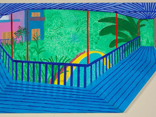 "David Hockney's ""A Bigger Interior with Blue Terrace"