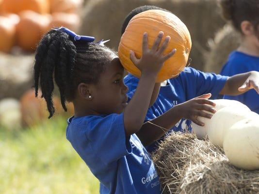 Pumpkin and child