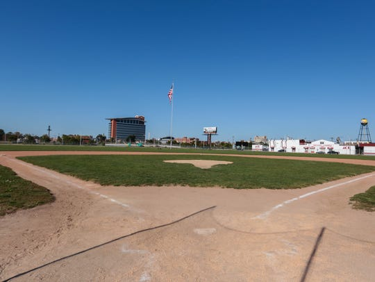 A photo of the diamond at the former Tiger Stadium
