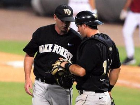 Westfield High School graduate Mike Murray Jr. (right), shown during his tenure at Wake Forest, gave up his dream of playing professional baseball after a few seasons with the Salem-Keizer Volcanoes of the Northwest League.