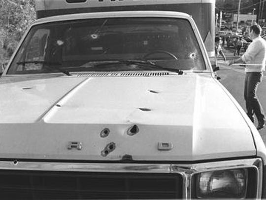 Ted Nuehoff was one of several reporters and photographers working the Brink's robbery-murders on Oct. 20, 1981. Here's a Neuhoff photo of a shot up getaway car.