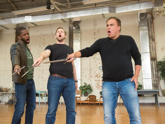 Justin Hopkins is Orazio, Joshua Kohl is Hamlet and Jose Sacin is Marcello in OperaDelaware's upcoming festival.