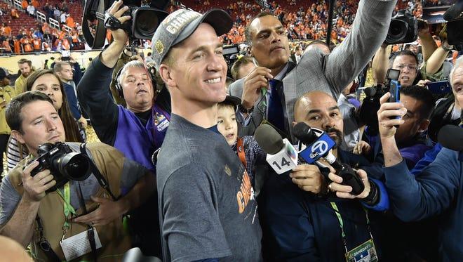 Denver Broncos quarterback Peyton Manning leaves the stadium defeating the Carolina Panthers in Super Bowl 50 at Levi's Stadium.