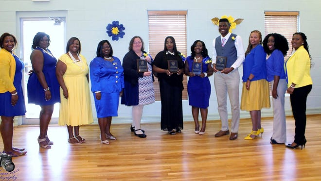 Mu Mu Sigma Chapter: Shown with members of the chapter are honorees Kristine Odahowski of the Gadsden County Library System, Tomeka Lightfoot of Gadsden County High, Lauren House of Stewart Street Elementary, and De'Garryan Andrews of Crossroads Charter Academy.