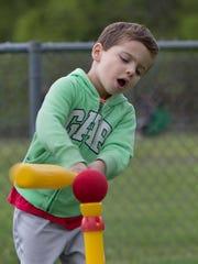 Joshua Nichols, 6 and 1/2, of Marlboro practices his