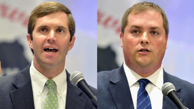 This combination of Friday, June 18, 2015 photos shows Kentucky Democratic candidate for Attorney General Andy Beshear, left, and Republican candidate Whitney Westerfield at a candidates forum in Louisville, Ky. In the campaign for Kentucky attorney general, Republicans point to Beshear's lack of prosecutorial experience and question whether some of his law clients would create conflicts of interest for him if elected. Democrats pounced on one of Westerfield's personnel files as a young assistant prosecutor, including a reference to personal interests sometimes taking priority over work. That spurred attacks from Democrats claiming Westerfield skipped court for pedicures.
