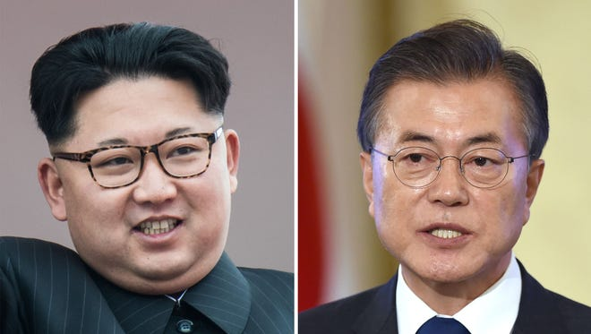 This combo of file photos shows a picture taken on May 10, 2016 of North Korean leader Kim Jong Un on the balcony of the Grand People's Study House following a mass parade in Kim Il-Sung Square in Pyongyang; and a picture taken on August 17, 2017 of South Korea's President Moon Jae-In speaking during a press conference marking his first 100 days in office in Seoul.