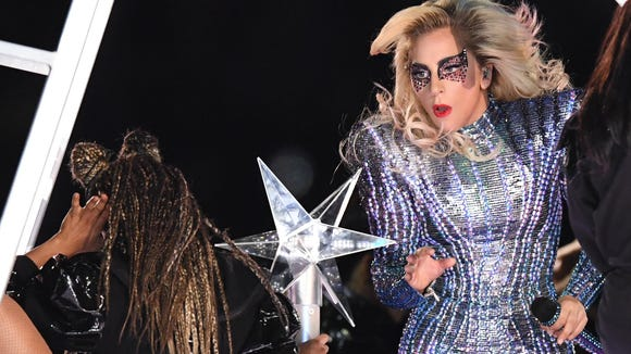 Feb 5, 2017; Houston, TX, USA; Lady Gaga performs during halftime between the Atlanta Falcons and the New England Patriots during Super Bowl LI at NRG Stadium. Mandatory Credit: Bob Donnan-USA TODAY Sports ORG XMIT: USATSI-348602 ORIG FILE ID: 20170205_sal_sd2_226.JPG