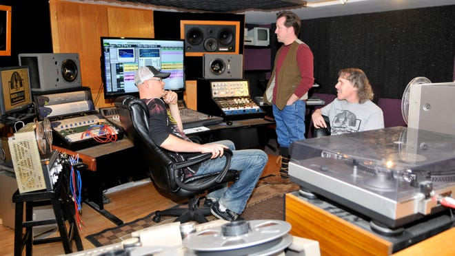 """Audio engineer Jon """"Shorty"""" Pettersen (left) is joined by Bobby Vee's son Jeff Velline and Into the Music radio show host Al Neff at Rockhouse Productions in St. Joseph."""