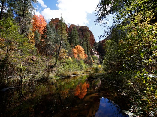 The West Fork Trail in Oak Creek Canyon north of Sedona is one of the most scenic spots in Arizona.