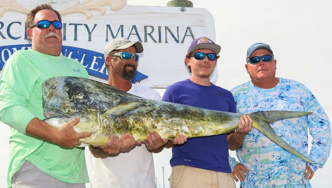 The team aboard My 3 Sons led by Gary Hedrick (left), of Port St. Lucie, weighed in the Fishing Frenzy-winning 57.80-pound dolphin to earn $10,000.