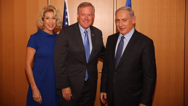 U.S. Rep. Mark Meadows, center, and his wife, Debbie, are shown with Israeli Prime Minister Benjamin Netanyahu during a recent visit to Israel.