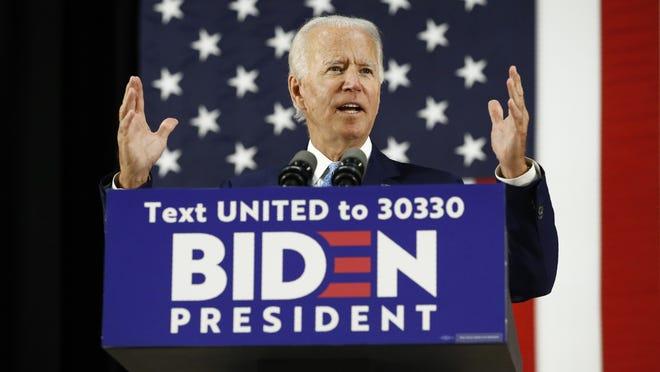 Democratic presidential candidate former Vice President Joe Biden speaks at Alexis Dupont High School in Wilmington, Del., on June 30.
