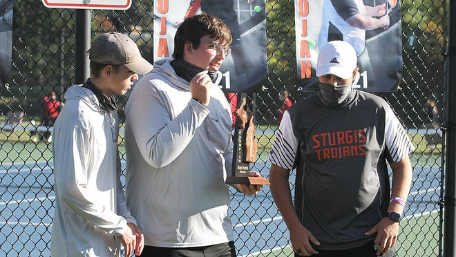 Sturgis senior tennis captains Grayson Swihart, Tyler Bohacz and Garrett Meyer share some thoughts following a district title last week in Sturgis. On Thursday, the Trojans will play in the state finals.