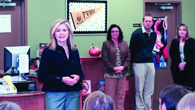 Marsha Blackburn addresses a class at Fairview High School in November.