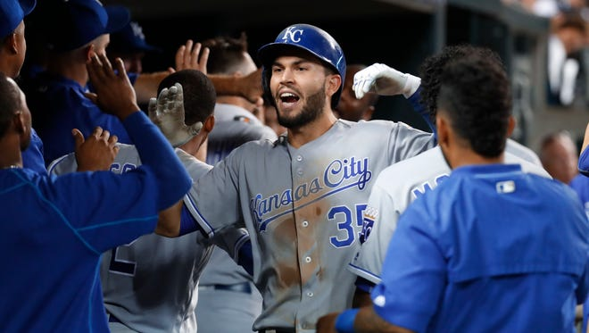 Royals first baseman Eric Hosmer celebrates his two-run home run in the ninth inning of the Tigers' 4-1 loss Wednesday at Comerica Park.