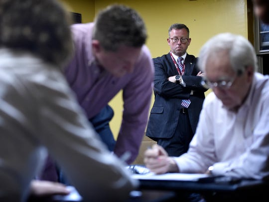 Jeff Griffith, candidate for the Republican nomination for the 101st Pennsylvania House District, watches his campaign staff run the numbers after the polls closed Tuesday, April 26, 2016. Griffith lost his bid for the nomination.