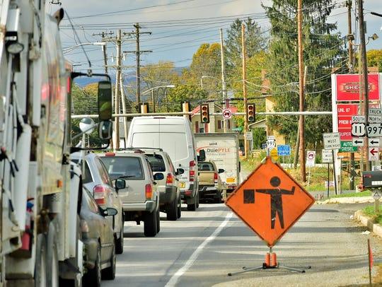 Traffic backs up on Pa. 997 at U.S. 11 in Greenvillage