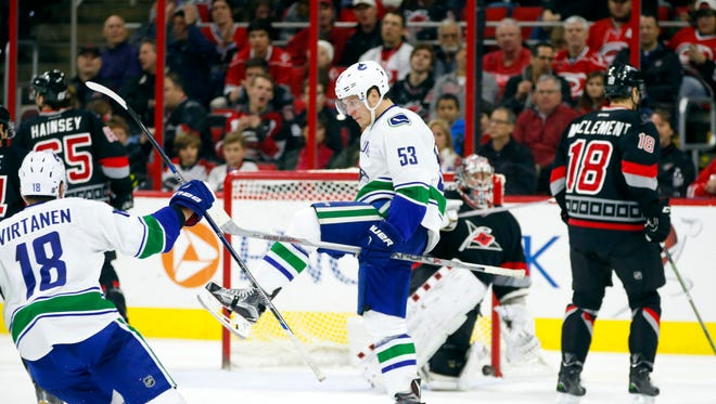 Vancouver Canucks forward Bo Horvat (53) celebrates his second period goal against the Carolina Hurricanes at PNC Arena.