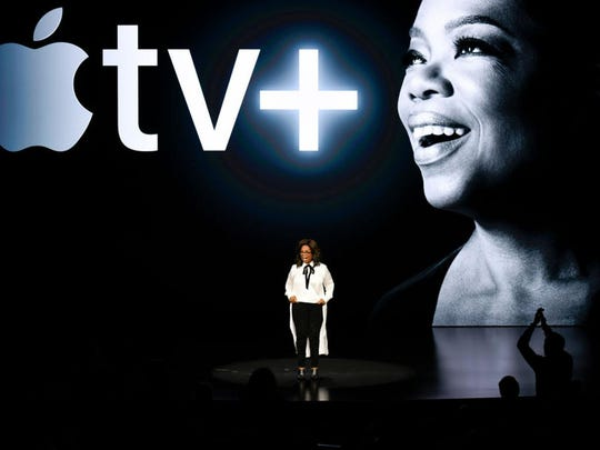 Oprah Winfrey speaks during an Apple product launch event at the Steve Jobs Theater.