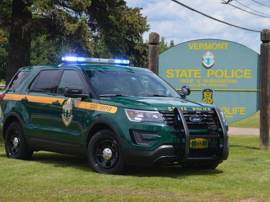 A Vermont State Police Ford Interceptor is parked at the Williston barracks.