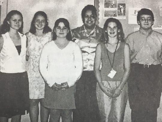 The UCMS top Accelerated Readers in June 2001 were, front row from left, Robin Miller, Brittany Garrett, and Laura Girten, Back row from left, Adrienne Wilhelm, Brittany Edwards, and Thomas Baker.