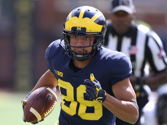 Michigan WR Grant Perry runs for a 33-yard touchdown in the third quarter Saturday, Sept. 9, 2017 at Michigan Stadium.