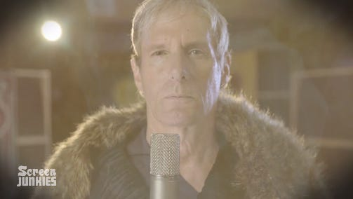 """Michael Bolton, as he appears in the Screen Junkies """"lost"""" theme song music video for """"Game of Thrones."""""""