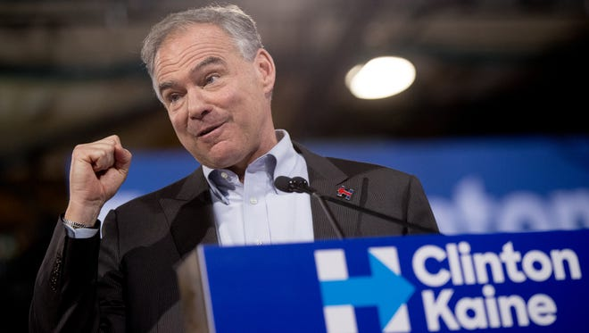 Sen. Tim Kaine, D-Va., accompanied by Democratic presidential candidate Hillary Clinton speaks at a rally at Florida International University Panther Arena in Miami,  July 23, 2016.