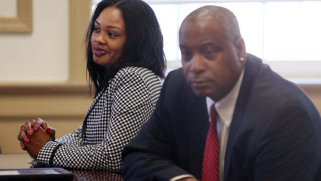 Katria Thorne-Stevenson with defense lawyer Darryl Saunders as she was sentenced for striking and kicking a juvenile at the Morris County Juvenile Detention Center while working there as an officer.  April 28, 2017, Morristown, NJ
