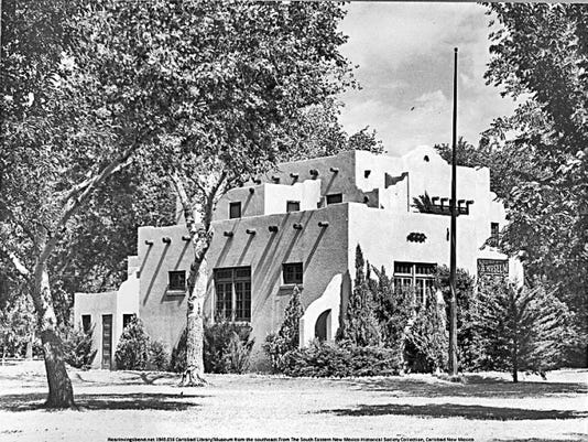 This photo of the Carlsbad Library and Museum was taken from the southeast in 1940. Photo from the New Mexico Carlsbad Bob Nymeyer Photo Collection.