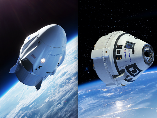 NASA-released renderings of SpaceX's Crew Dragon and