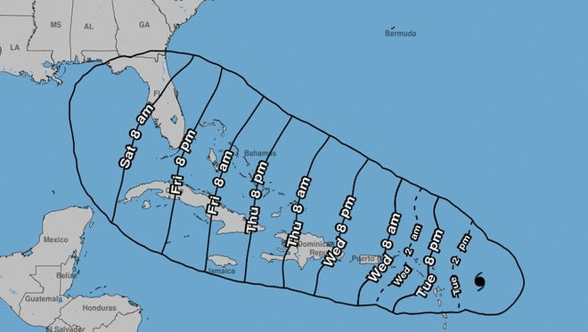 """This map, issued by the National Hurricane Center on Tuesday, Sept. 5, 2017, showed the """"earliest reasonable arrival time of tropical-storm-force winds"""" from Hurricane Irma."""