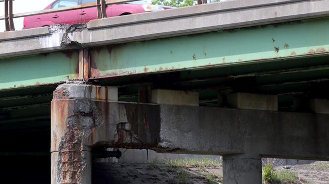 A deteriorated bridge on Route 390.