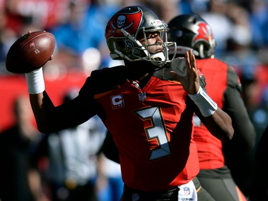 Tampa Bay Buccaneers quarterback Jameis Winston (3) throws a pass against the Detroit Lions during the first half of an NFL football game Sunday, Dec. 10, 2017, in Tampa, Fla.
