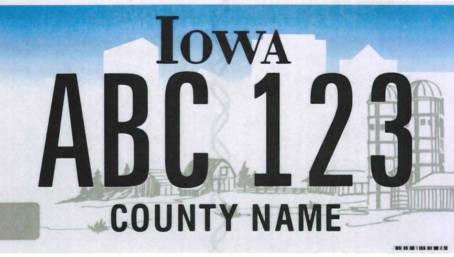 An Iowa license plate